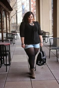 Plus Size Outfit Ideas With Leggings Pictures plus size tights plus size and proud Plus Size Outfit Ideas With Leggings. Here is Plus Size Outfit Ideas With Leggings Pictures for you. Plus Size Outfit Ideas With Leggings plus size ou. Look Plus Size, Curvy Plus Size, Plus Size Casual, Plus Size Women, How To Wear Ankle Boots, How To Wear Leggings, Shorts With Tights, Denim Shorts, Dress Leggings