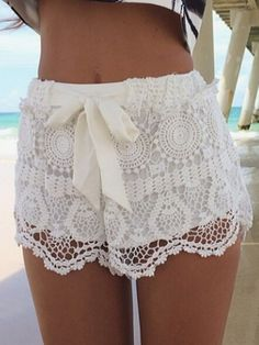 White, Bowknot Tie, Lace Shorts,Polyester,Mid waist