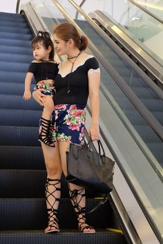 Mother and daughter matching outfits, mommy and me style, mom and daughter matching outfits Mom And Daughter Matching, Mini Me, Matching Outfits, Mommy And Me, Leather Skirt, Dressing, My Style, Skirts, Fashion