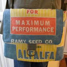 Ramy Seed Co. Seed sack Maximum Performance upcycled by LoriesBags