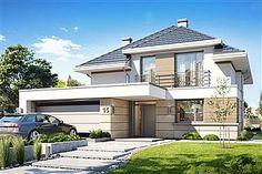 Projekt domu Oszust 2 136,4 m2 - koszt budowy 224 tys. zł - EXTRADOM 2 Storey House Design, Duplex House Design, Modern House Design, Best Architects, Home Fashion, Architecture Design, House Plans, New Homes, Construction