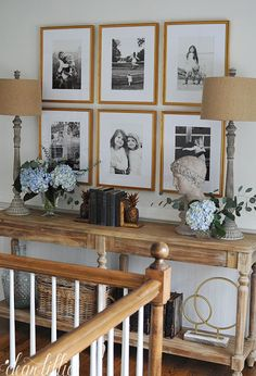 Jenni'S home - stairway and upstairs landing area - dear lillie studio hallway designs, hallway Stair Landing Decor, Staircase Landing, Stair Wall Decor, Upstairs Landing, Upstairs Hallway, Dark Hallway, Stairway Decorating, Foyer Decorating, Bedroom Decor