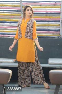Kiko Fashion EDS Designer Cotton Kurti with koti & Palazzo Set from Stf Store Simple Kurti Designs, Stylish Dress Designs, Stylish Dresses, Blouse Designs, Pakistani Fashion Party Wear, Pakistani Dress Design, Jacket Style Kurti, Kurti Patterns, Dress Patterns