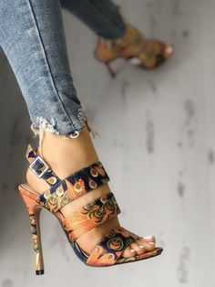 Peacock Feather Print Bandage Thin Heeled Sandals Woman Shoes can a pregnant woman wear high heel shoes Stilettos, Pumps Heels, Stiletto Heels, Heeled Sandals, Shoes Sandals, Women Sandals, Flat Shoes, Vans Shoes, Sandals Outfit