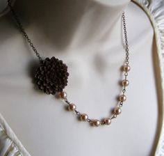 Brown Flower Beaded Necklace with Champagne Pearls. Bridal Jewelry