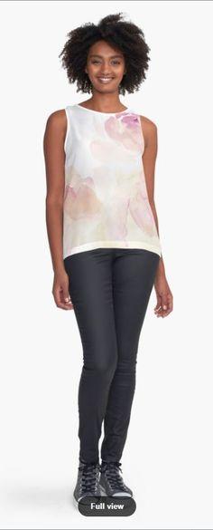 'Watercolor Kisses' Sleeveless Top by TessaSanDiego Maneki Neko, Chiffon, Tank Tops, Carousel, Kisses, Watercolor Art, Fabric, People, Prints