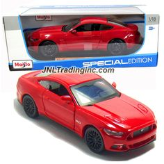 "Maisto Special Edition Series 1:18 Scale Die Cast Car - Red Color Sports Coupe 2015 FORD MUSTANG GT with Display Base (Car Dimension: 10"" x 4"" x 3"")"