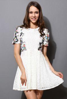 Retro Floral Print White Lace Dress - New Arrivals - Retro, Indie and Unique Fashion