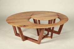 """Mother and Cub."" Oak table tops with walnut legs.  End table nests within coffee table for versitility."