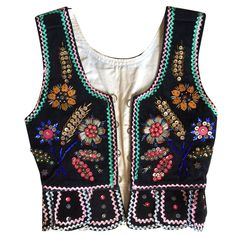 Vintage Folk Traditional Costume Black Velvet Floral Waist Coat Vest Boho Festival Top with Beading Sequins Embroidery and Ric Rac by ExclVintageClothing on Etsy https://www.etsy.com/au/listing/477802902/vintage-folk-traditional-costume-black