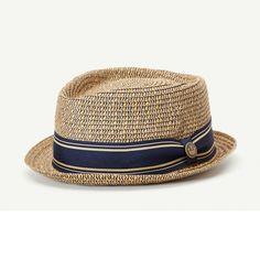 bfde542beaa Big Boy Kris Tan Straw Porkpie Fedora hat front view Mens Straw Hats