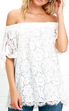 Ethereal View Ivory Lace Off The Shoulder Top via @bestchicfashion