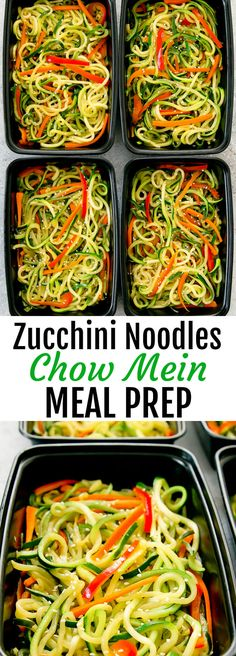 Zucchini Noodles Chow Mein Meal Prep. A lighter, low carb and healthier version of chow mein that can be made ahead of time for your weekly meal prep.