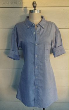 DIY Mens shirt dress #refashion by @Lisa a Farme / Anne A. Hollabaugh aka. WobiSobi on BrassyApple.com #sewing