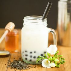 Jasmine Milk Tea with Honey Boba-Get your hourly source of sweet...