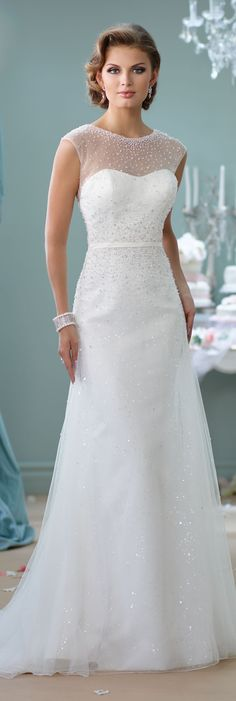 Wedding Dress with Sheer Top