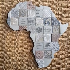 Looking for a unique gift from SA for overseas friends? These beautifully designed Africa collages are just that. Unique to Earthly Mosaics, something different to remind them of South Africa. Collage Making, Concrete Tiles, Mosaics, Collages, Unique Gifts, Africa, Design, Concrete Roof Tiles, Mosaic