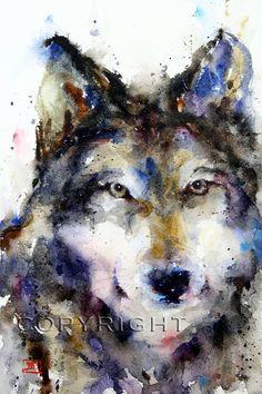 Imprimir acuarela lobo por Dean Crouser por DeanCrouserArt en Etsy