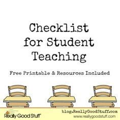 Checklist for Student Teaching with Free Printable and Resources. These are ways to make sure you do your best while student teaching and, hopefully, allows you to get a job afterwards. Student Teacher, Teacher Hacks, School Teacher, Teacher Stuff, Teacher Gifts, First Year Teachers, New Teachers, Teachers Toolbox, Teaching Career