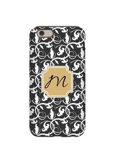 Black and White Vines Monogram #iPhone6case #GalaxyS6case #monogramphonecase