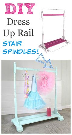 Dress Up Rail made from stair spindles!  DIY Plans by ANA-WHITE.com