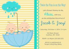 Twins Boys - Shower the Mommy-to-Be!  This shower invitation is perfect for…