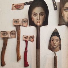 Los Angeles surrealist artist and sculptor Alexandra Dillon has painted a unique series of portraits on all sorts of worn paintbrushes. She also paints Found Object Art, Found Art, Paint Brush Art, Paint Brushes, Arte Horror, Recycled Art, Art Plastique, Artist Painting, Medium Art