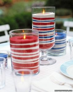 Patriotic jars. Love the idea of making these candles.  Image only.