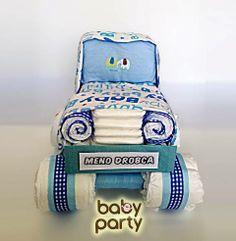 Plienkova torta - Baby party autíčko je pripravené na cestu k Vám. Zložené je z 50 plienok, dvoch detských prikrývok a detského body. Značku upravíme podľa mena drobčeka