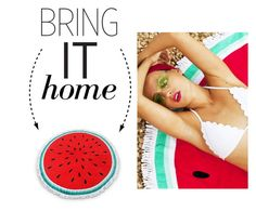 """""""Bring It Home: Watermelon Round Beach Towel"""" by polyvore-editorial ❤ liked on Polyvore featuring interior, interiors, interior design, home, home decor, interior decorating and bringithome"""