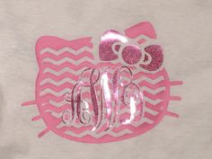 Monogram chevron Kitty t shirt and cheer bow set personalized hello kitty…