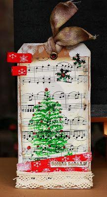 music Christmas tag
