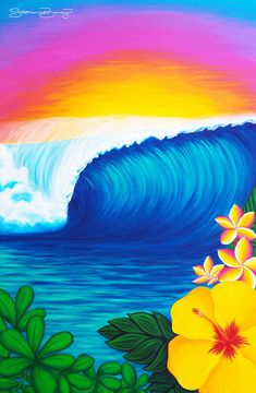 Stephanie Boinay enjoys capturing the energy of Aloha to share with others through her bright & happy paintings. Hawaii Painting, Summer Painting, Happy Paintings, Seascape Paintings, Canvas Paintings, Tropical Paintings, Acrylic Painting Canvas, Canvas Art, Diy Canvas