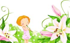 Girl with lilies wallpaper Lily Wallpaper, Painting Of Girl, Lilies, Tinkerbell, Rainbow, Artist, Free, Rain Bow, Irises