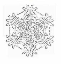Tecendo Artes em Crochet: Florzinha Linda Crochet Squares, Crochet Motif, Crochet Patterns, Crochet Poncho, Free Pattern, Diy And Crafts, Embroidery, Stitch, Lace