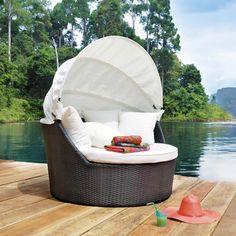 Canapé de jardin 2 places en résine tressée noir Antibes | Maisons du Monde