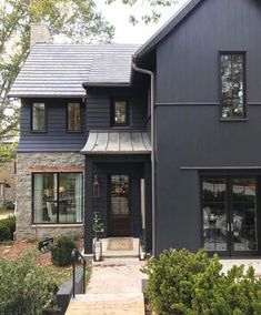 Here are the Black House Exterior Design Ideas For Your Inspiration. This post about Black House Exterior Design Ideas For Your Inspiration was posted under the Exterior Design category by our team at August 2019 at pm. Black House Exterior, House Paint Exterior, Exterior House Colors, Exterior Design, Exterior Windows, Exterior Siding, Modern Exterior, Traditional Brick Home, Traditional Exterior