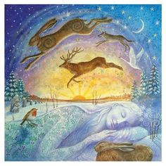 We have a wonderful selection of Yule gift ideas at Goddess Temple Gifts, to inspire you this festive season. At Yule, The Winter Solstice, we embrace the silence, take time to send blessings of l… Illustrations, Illustration Art, Lapin Art, Winter Festival, Summer Solstice, Happy Winter Solstice, Wiccan, Pagan Yule, Vikings