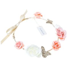 Rockahula Bridal Rose and Butterfly Garland Headband, Ivory/Multi ❤ liked on Polyvore featuring accessories, hair accessories, bridal headbands, butterfly garland, bride headband, rose headband and floral garland