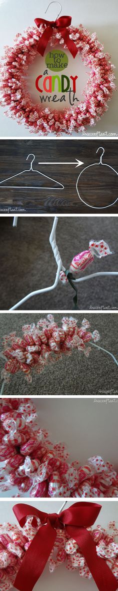 Can be done with wrapped candy of any kind-such a fun candy wreath to make for your own home or for neighbors. it looks great AND tastes great, too! see the how-to at www.livecrafteat.com