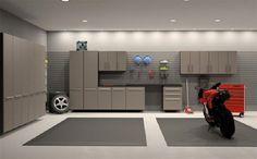 Garage Interior Design Ideas for Your Lovely Motors : Spacious Garage Interior Design Ideas With Grey Color Scheme