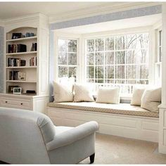Window Seat - this appears a lot like our front room entrance window, solely ours has no seat but. Now I need to do the constructed-ins AND the window seat! - All Home Decors Decor, Front Room, Home, House Interior, Interior Design, Bay Window Seat, Home And Living, Window Seat, Window Seat Design