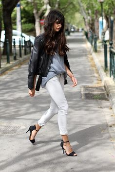 white jeans & heels | zara | by let's have a margarita