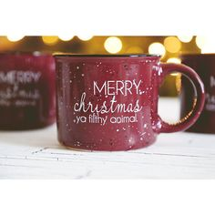 Merry Christmas Ya Filthy Animal Hilarious Coffee Mug ($22) ❤ liked on Polyvore featuring home, kitchen & dining, drinkware, drink & barware, grey, home & living, mugs, animal mugs, stoneware coffee mugs and animal coffee mugs