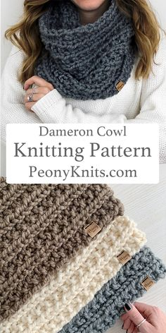 Buy 3 Get 2 FREE Knitting Patterns. A beautiful cowl knitting pattern. The pattern is a quick project that is perfect for a beginner knitter. Easy Knitting Patterns, Free Knitting, Crochet Patterns, Infinity Scarf Knitting Pattern, Finger Knitting, Scarf Patterns, Knitting Machine, How To Start Knitting, Knitting For Beginners