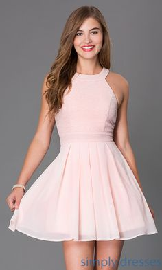 Shop sleeveless blush pink short glitter print cocktail dresses at SimplyDresses. Semi formal prom dresses with high necks and back bows.