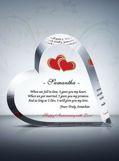 The perfect anniversary gift for your loved one! This Crystal Heart Anniversary Gift stands for so much more than just fine material. This plaque can be detailed to your exact specifications to mark a milestone anniversary and celebrate your love. Anniversary Wishes For Parents, Wishes For Brother, Wedding Anniversary Gifts, We Fall In Love, Crystal Gifts, Love Messages, Got Married, Heart Shapes, Crystals