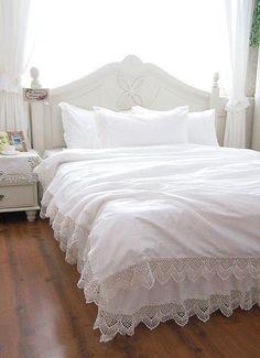 Luxury White Lace bedspread princess bedding set queen size 4pc girl duvet cover bed skirt bedsheet set bedclothes cotton BD-006 $218.70 - 231.50