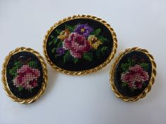 1950s Petit Point Brooch & Earrings Set