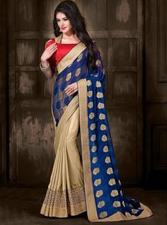 $72.41Blue Viscose Jacquard Half and Half Wedding Saree 56818